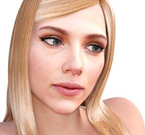 3D actress scarlett johansson rigged model