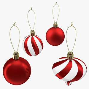 3D assorted christmas ball ornament model
