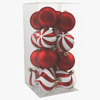 3D assorted christmas ball ornaments model