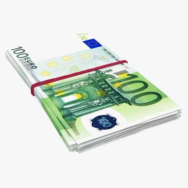 100 euro banknotes bills 3D model