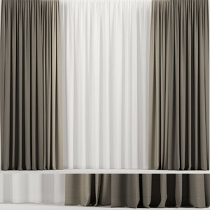 3D curtains tulle brown model