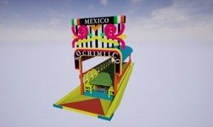3D trajinera boat xochimilco - model