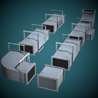 3D stylized modular vents ready model