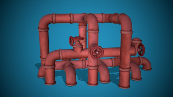3D model stylized modular pipes ready