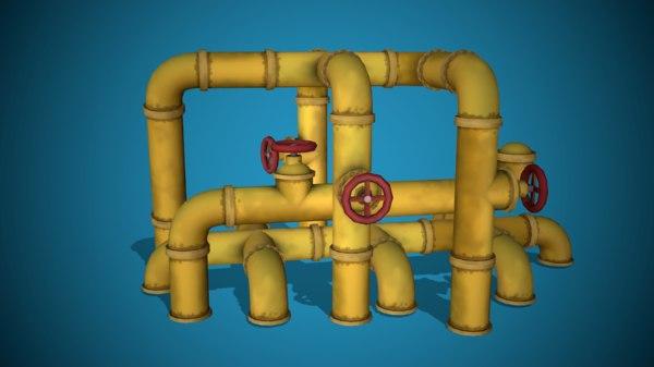 stylized modular pipes ready 3D model