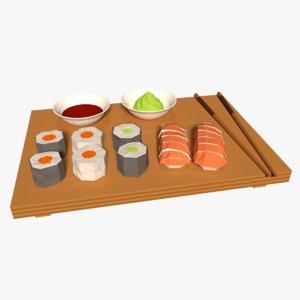 cartoon sushi 3D