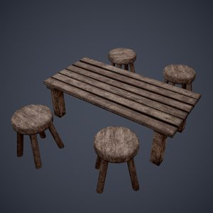 3D tavern table stool