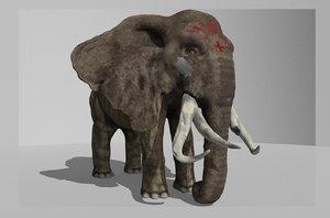 3D angry elephant model