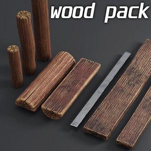 logs pack wooden 3D model