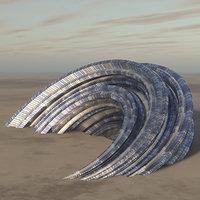 3D futuristic building architecture