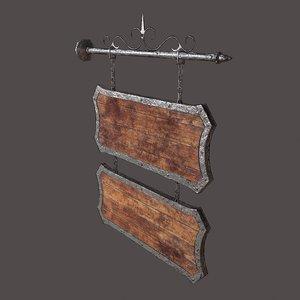 medieval wooden tavern sign 3D model