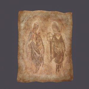 worn medieval paper figures model
