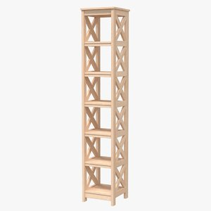 realistic wooden shelving unit 3D model