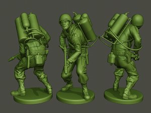 3D american soldier ww2 action