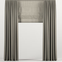 curtains brown roman 3D model