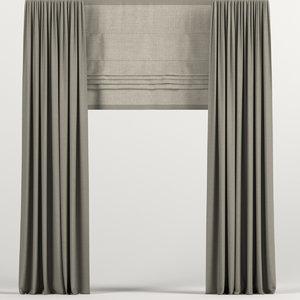 curtains brown roman 3D model