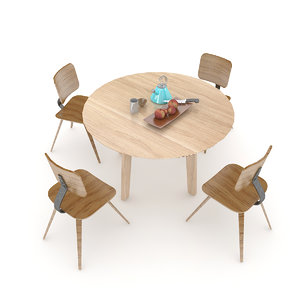 3D wooden table set model