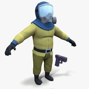 3D ready masked gunner