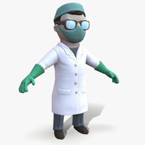 ready cartoon scientist electric 3D