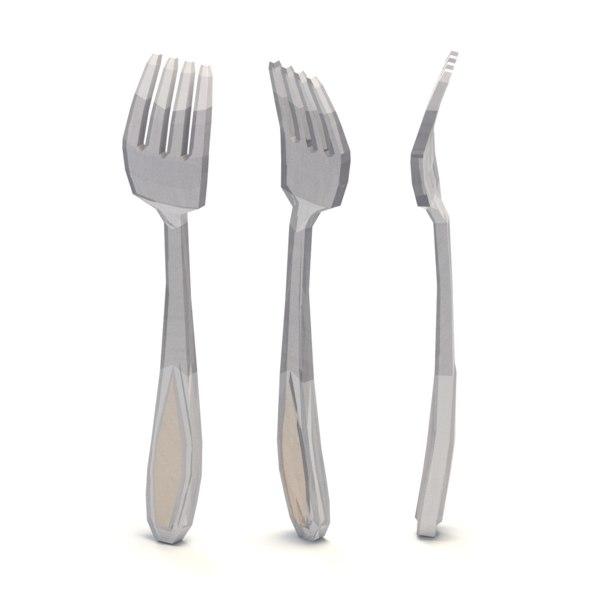 3D fork cartoon
