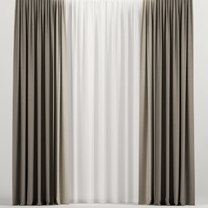 3D model curtains tulle brown