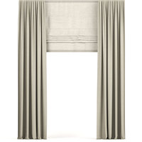 curtains beige narrow 3D