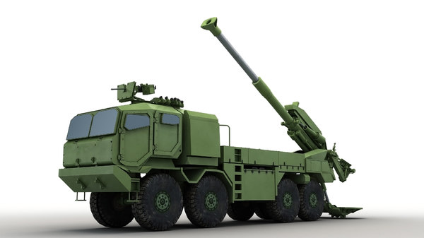 modern truck-mounted cannon howitzer 3D model