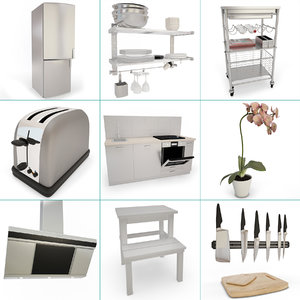 kitchen set 01 toaster 3D model