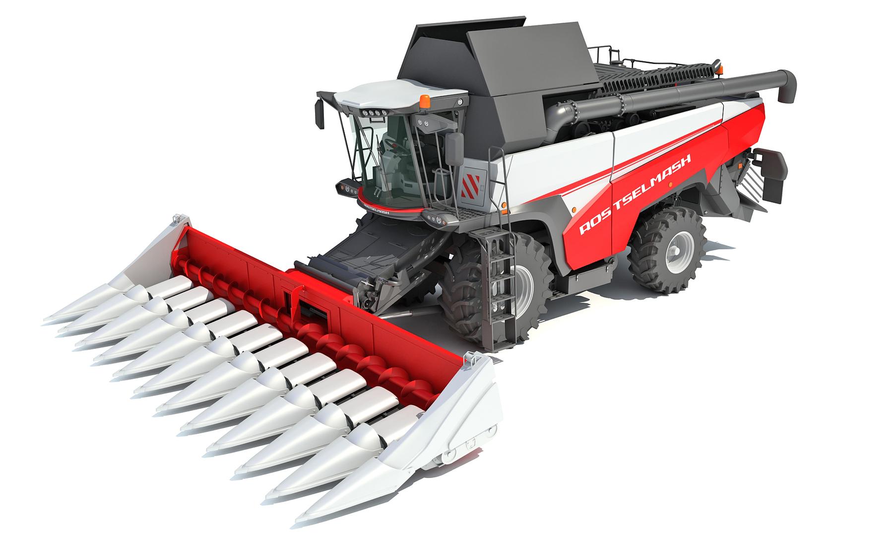 rostselmash combine harvester corn 3D model