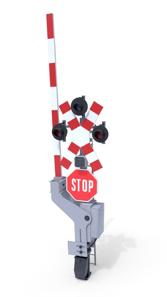 railway crossing traffic light 3D