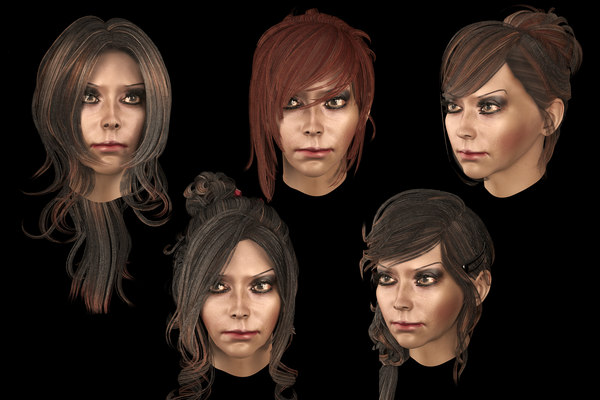 set female hairstyle 5 3D model