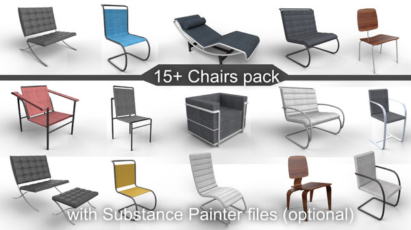 3D pack 15 chairs substance