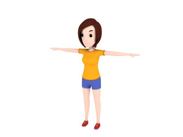 3D girl character cartoon model