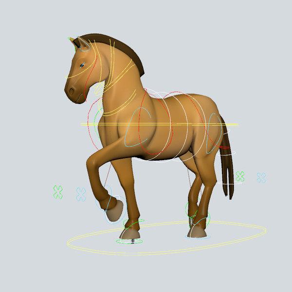 horse rig animation 3D model