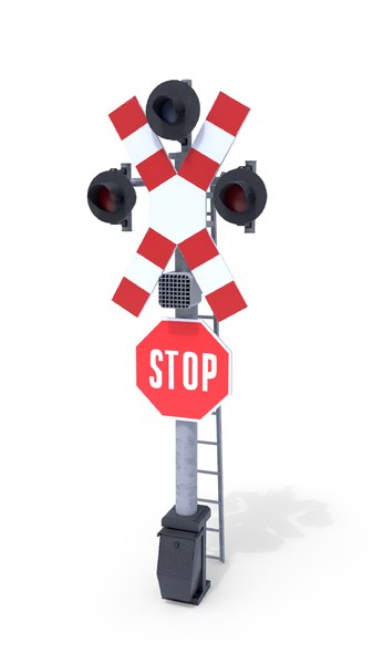 railway crossing traffic light 3D model