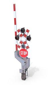 3D railway crossing traffic light