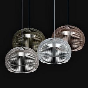 3D suspension luminaire bois