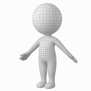 stylized stickman a-pose character model