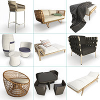 set braided furniture outdoor 3D model