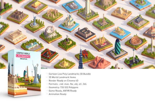 3D model pack cartoon landmarks mega