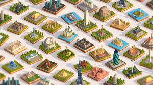 3D model pack cartoon landmarks mega