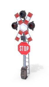 3D railway crossing traffic light model