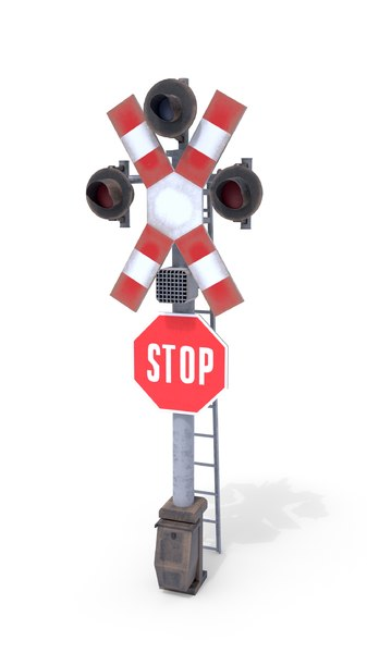 3D railway crossing traffic light model