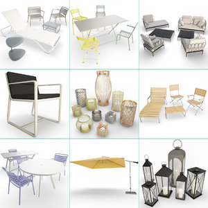 set metallic furniture accessories 3D