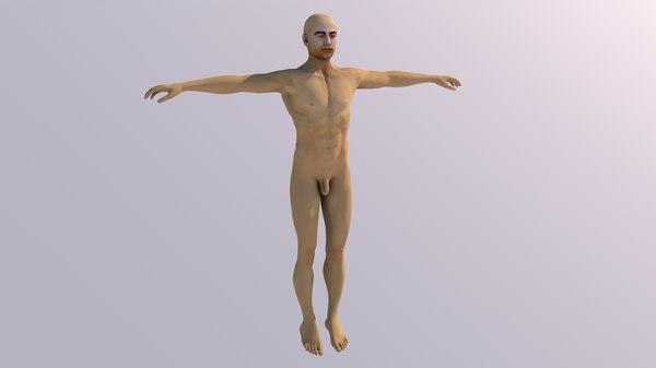 naked man body medical anatomy 3D model