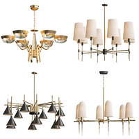3D wide antique brass chandelier model
