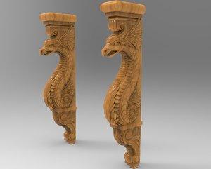 3D corbel carved dragon model