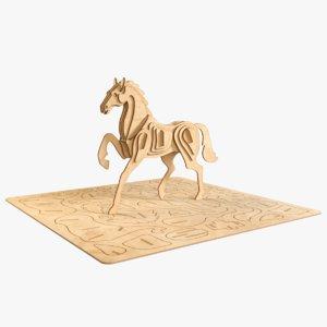 horse laser cut 3D