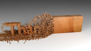 3D wood chipping thank text