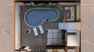 terrace pool 3D model